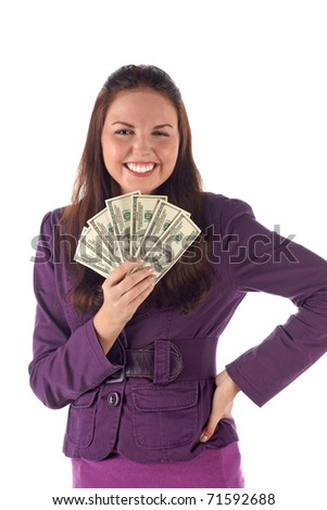 Happy businesswoman on white background - stock photo