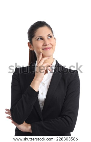 Happy businesswoman thinking and looking sideways isolated on a white background - stock photo