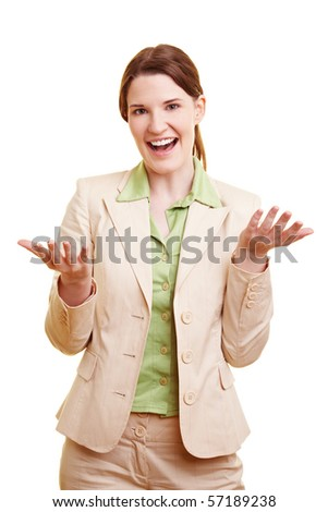 Happy businesswoman with ballpoint pen talking and gesticulating - stock photo
