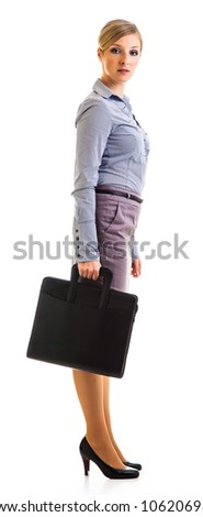 Happy businesswoman with briefcase isolated on white - stock photo