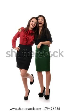 Happy businesswomen couple laughing - stock photo