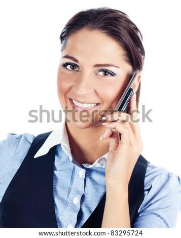 Happy businesswomen ,isolated on white.Studio shot - stock photo