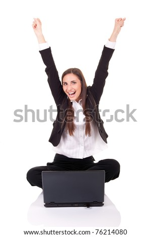 happy businesswomen with lap-top, hands up,  on white background - stock photo