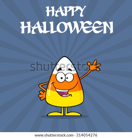 Happy Candy Corn Cartoon Character Waving. Raster Illustration With Background And Text - stock photo