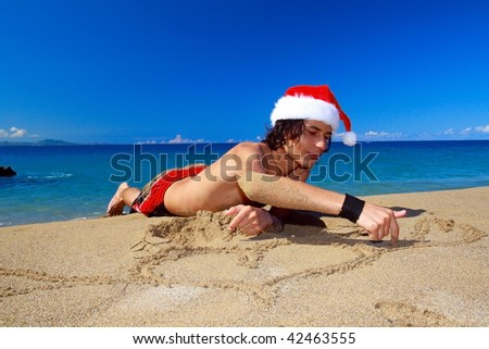 Happy caribbean santa claus in red hat - stock photo
