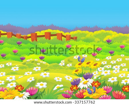 Happy cartoon meadow scene - illustration for the children - stock photo