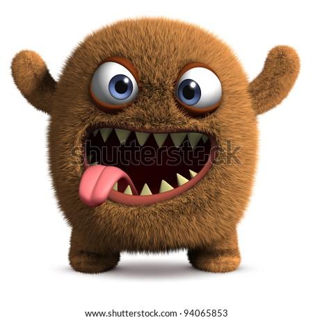 happy cartoon monster - stock photo