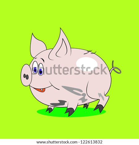Happy cartoon pig - stock photo