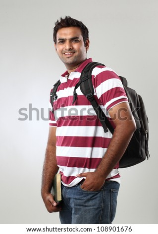 Happy Casual Dressed Young College student - stock photo
