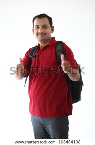 Happy Casual Dressed Young  College student  Isolated on White Background - stock photo