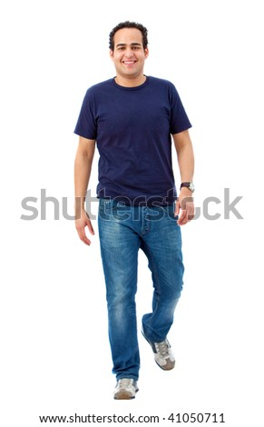 Happy casual man walking isolated over a white background