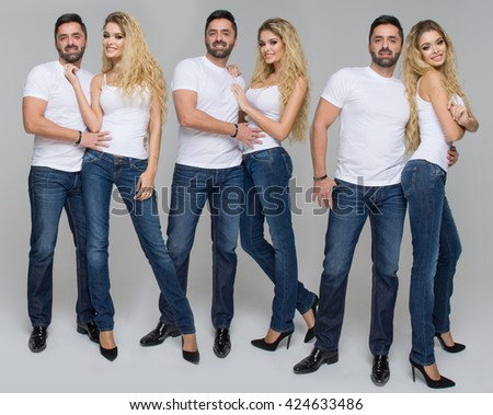 Happy casual people wear jeans and white t-shirt