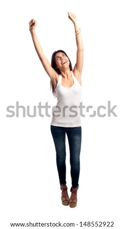 happy casual woman isolated on white background