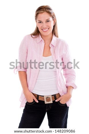 Happy casual woman smiling with hands in pockets - isolated over white  - stock photo