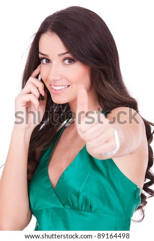 Happy casual woman with phone and ok gesture, isolated