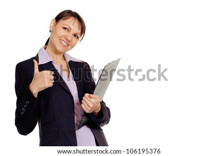 Happy Caucasian business woman shows cool on a white background