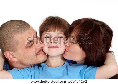 Happy Caucasian family of three on a white background