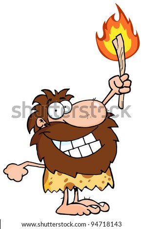 Happy Caveman Holding Up A Torch - stock photo