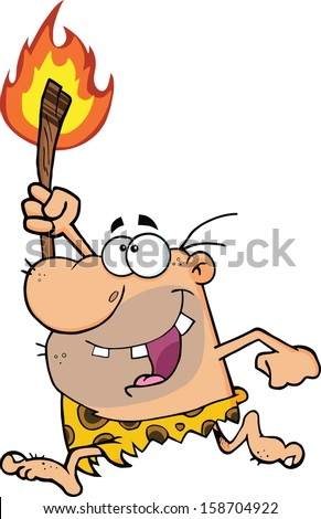 Happy Caveman Running With A Torch. Raster Illustration Isolated on white - stock photo