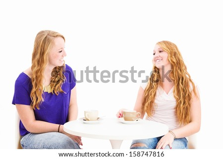 happy chatting women sitting at a coffee table on white background - stock photo