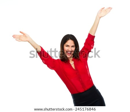 Happy cheerful business woman  isolated on white background. - stock photo