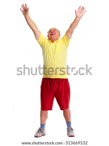 Happy cheerful elderly man dancing and jumping isolated white background. - stock photo