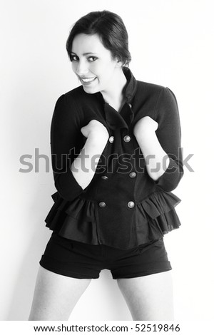 happy cheerful exotic woman - black and white