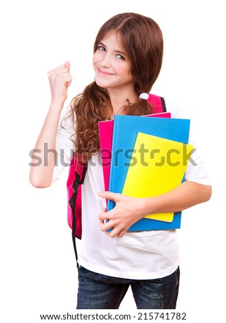 Happy cheerful schoolgirl holding in hand books and gesturing good mood, isolated on white background, enjoying education concept - stock photo