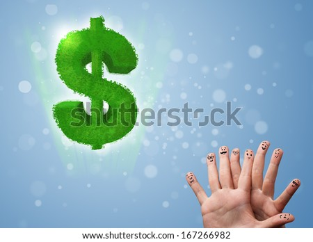 Happy cheerful smile fingers looking at green leaf dollar sign - stock photo