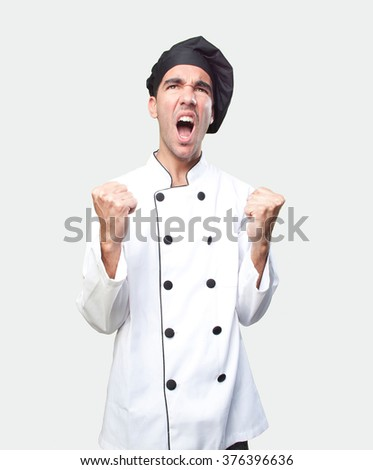 Happy chef celebrating