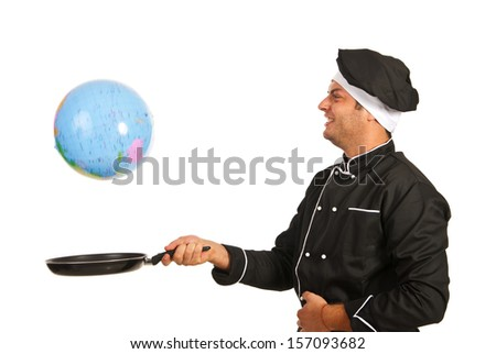 Happy chef ready to reach an world globe to frying pan isolated on white background - stock photo