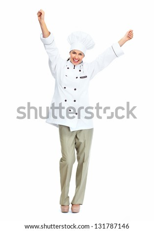 Happy chef woman. Isolated over white background. - stock photo