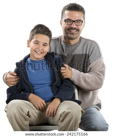 Happy Child and his Father - stock photo