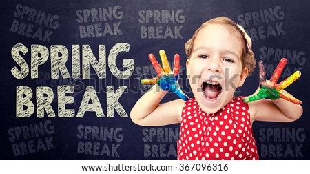 Happy child announcement Spring Break - stock photo