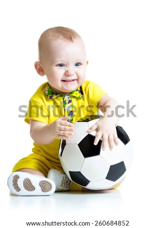 happy child boy with soccer ball isolated on white - stock photo