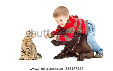 Happy child, dog and cat playing together, isolated on white background - stock photo