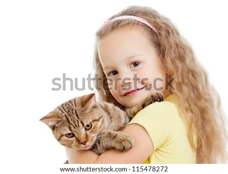 happy child girl holding  cat isolated on white - stock photo