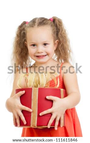 happy child girl holding gift box - stock photo