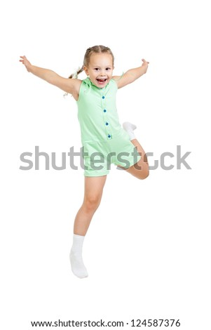 happy child girl jumping isolated on white - stock photo