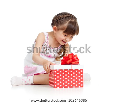 happy child girl opening gift box