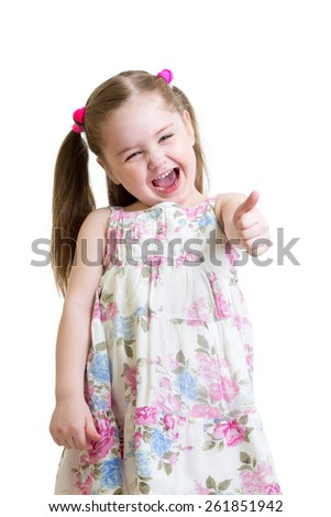 happy child girl shows hands thumbs up - stock photo