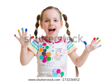 happy child girl with color painted hands isolated - stock photo