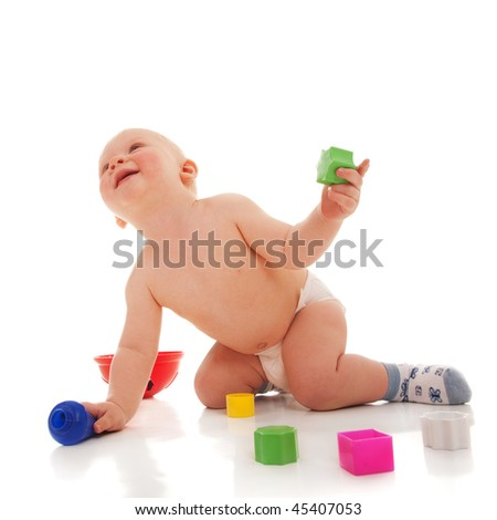happy child isolated on the white background