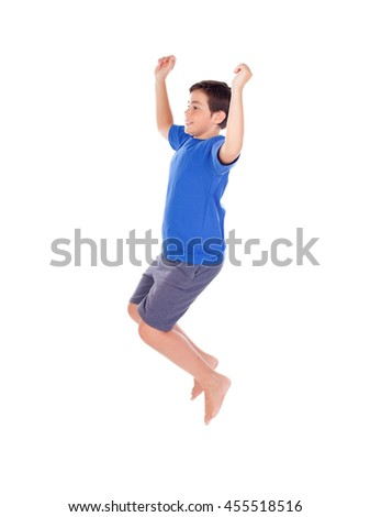 Happy child jumping isolated on a white background - stock photo