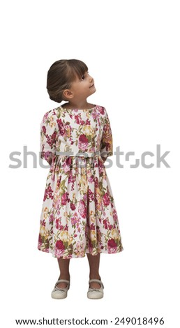 Happy child looking right on white background