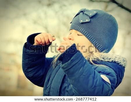 Happy child. Outdoors scenery. Vintage style. - stock photo