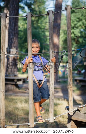 Happy child, preschool boy enjoying activity in a climbing adventure park on a summer day
