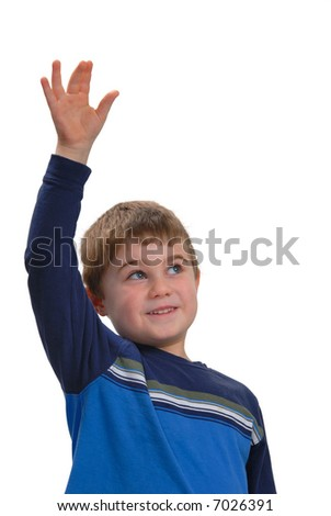 Happy child raising his hand, isolated on white - stock photo