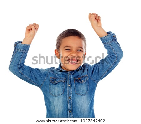 Happy child raising the arms isolated on a white background