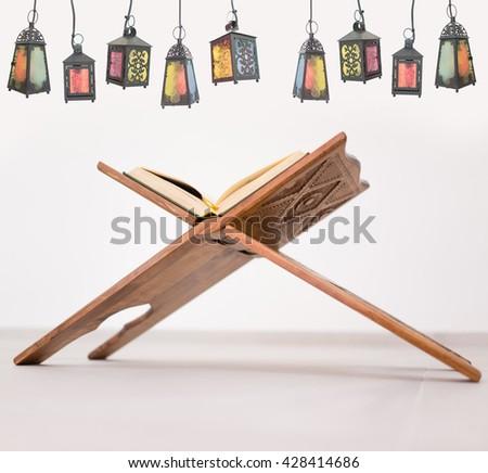 Happy child ready for Ramadan with lantern - stock photo